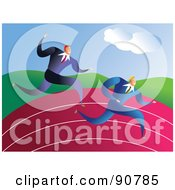 Royalty Free RF Clipart Illustration Of Two Racing Businessmen On A Track by Prawny