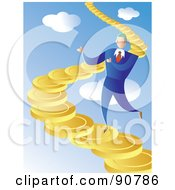 Royalty Free RF Clipart Illustration Of A Businessman Walking Up A Coin Staircase In The Sky