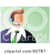Royalty Free RF Clipart Illustration Of A Customer Service Business Man Wearing A Headset