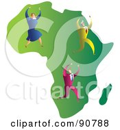 Royalty Free RF Clipart Illustration Of A Successful Business Team On A Map Of Africa