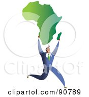 Royalty Free RF Clipart Illustration Of A Successful Businessman Carrying A Map Of Africa
