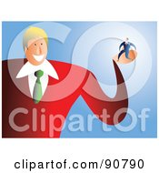Royalty Free RF Clipart Illustration Of A Friendly Businessman Holding A Tiny Man In His Palm