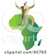 Royalty Free RF Clipart Illustration Of A Successful Businessman Sitting On A Map Of Africa