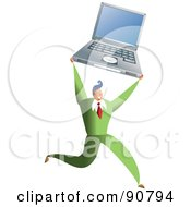 Royalty Free RF Clipart Illustration Of A Successful Businessman Holding Up A Laptop by Prawny