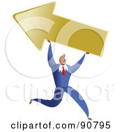 Royalty Free RF Clipart Illustration Of A Successful Businessman Carrying An Arrow by Prawny