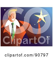 Royalty Free RF Clipart Illustration Of A Businessman Catching A Falling Star by Prawny