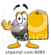 Eight Ball Mascot Cartoon Character Holding A Yellow Sales Price Tag