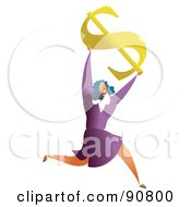 Royalty Free RF Clipart Illustration Of A Successful Businesswoman Holding Up A Dollar Symbol