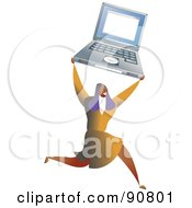 Royalty Free RF Clipart Illustration Of A Successful Businesswoman Holding Up A Laptop by Prawny