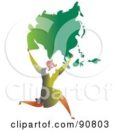 Royalty Free RF Clipart Illustration Of A Successful Businesswoman Carrying Asia