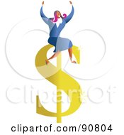 Royalty Free RF Clipart Illustration Of A Successful Businesswoman Sitting On A Dollar Symbol