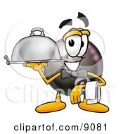 Eight Ball Mascot Cartoon Character Dressed As A Waiter And Holding A Serving Platter