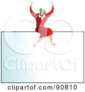 Royalty Free RF Clipart Illustration Of A Successful Businesswoman Sitting On Top Of A Blank Business Card by Prawny