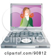 Royalty Free RF Clipart Illustration Of A Friendly Businesswoman Smiling On A Laptop Screen by Prawny