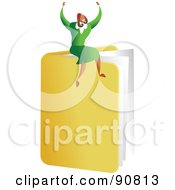 Royalty Free RF Clipart Illustration Of A Successful Businesswoman Sitting On A Folder by Prawny