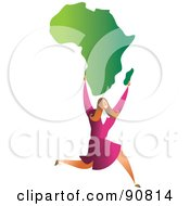 Royalty Free RF Clipart Illustration Of A Successful Businesswoman Carrying Africa