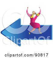 Royalty Free RF Clipart Illustration Of A Successful Businesswoman Sitting On An Arrow by Prawny