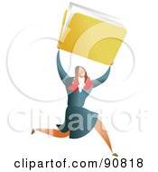 Royalty Free RF Clipart Illustration Of A Successful Businesswoman Carrying A Folder