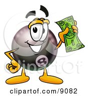Eight Ball Mascot Cartoon Character Holding A Dollar Bill