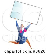 Royalty Free RF Clipart Illustration Of A Successful Businesswoman Carrying A Blank Business Card Over Her Head by Prawny