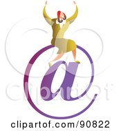 Royalty Free RF Clipart Illustration Of A Successful Businesswoman Sitting On An At Email Symbol by Prawny