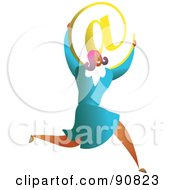 Royalty Free RF Clipart Illustration Of A Successful Businesswoman Carrying An At Email Symbol by Prawny