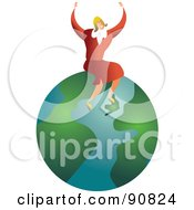 Royalty Free RF Clipart Illustration Of A Successful Businesswoman Sitting On A Globe by Prawny