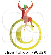 Royalty Free RF Clipart Illustration Of A Successful Businesswoman Sitting On A Copyright Symbol by Prawny