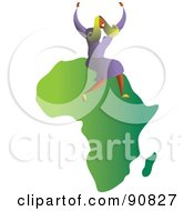 Royalty Free RF Clipart Illustration Of A Successful Businesswoman Sitting On Africa