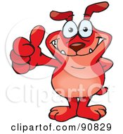 Red Sparkey Dog Holding His Thumb Up by Dennis Holmes Designs