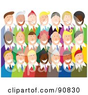 Royalty Free RF Clipart Illustration Of A Happy Smiling Business Team Over White by Prawny