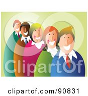Royalty Free RF Clipart Illustration Of A Team Of Happy Business Men And Women In A Line