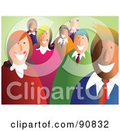 Royalty Free RF Clipart Illustration Of A Happy Smiling Business Team Over Green