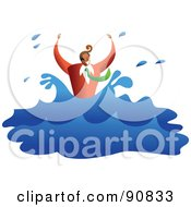 Royalty Free RF Clipart Illustration Of A Businessman Drowning And Splashing In Water by Prawny