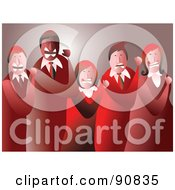 Royalty Free RF Clipart Illustration Of A Mad Business Team Clenching Their Fists