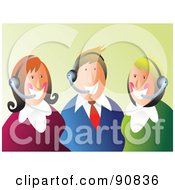 Royalty Free RF Clipart Illustration Of A Happy Customer Service Team Wearing Headsets