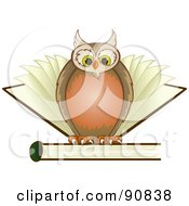Wise Owl Perched On Top Of A Book With Pages Behind Him