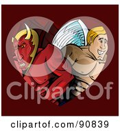 Royalty Free RF Clipart Illustration Of A Male Angel And Devil In A Heart On Red
