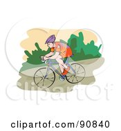 Royalty Free RF Clipart Illustration Of A Male Mountain Biker Riding