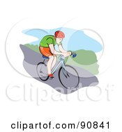 Royalty Free RF Clipart Illustration Of A Male Mountain Biker Riding Downhill