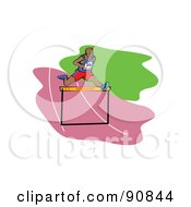 Royalty Free RF Clipart Illustration Of An African Male Runner Leaping A Hurdle On A Track