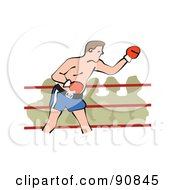 Royalty Free RF Clipart Illustration Of A Male Boxer In A Ring A Crowd Watching by Prawny