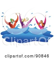 Royalty Free RF Clipart Illustration Of A Female Business Team Drowning And Splashing In Water by Prawny
