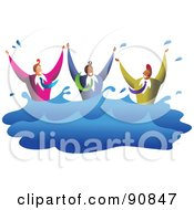 Royalty Free RF Clipart Illustration Of A Team Of Diverse Men Drowning In Water