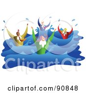 Royalty Free RF Clipart Illustration Of A Business Team Of Four Drowning And Splashing In Water