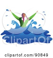 Royalty Free RF Clipart Illustration Of A Businesswoman Drowning And Splashing In Water