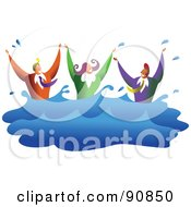 Royalty Free RF Clipart Illustration Of A Business Team Of Three Drowning And Splashing In Water by Prawny