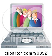 Royalty Free RF Clipart Illustration Of A Happy Business Team In A Laptop by Prawny