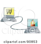 Royalty Free RF Clipart Illustration Of A Woman On A Laptop Screen Connected To A Shopping Laptop by Prawny
