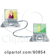 Royalty Free RF Clipart Illustration Of A Woman On A Laptop Connected To Her Internet Banking Site by Prawny